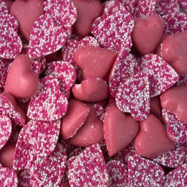 Pink Chocolate Hearts Retro Sweets
